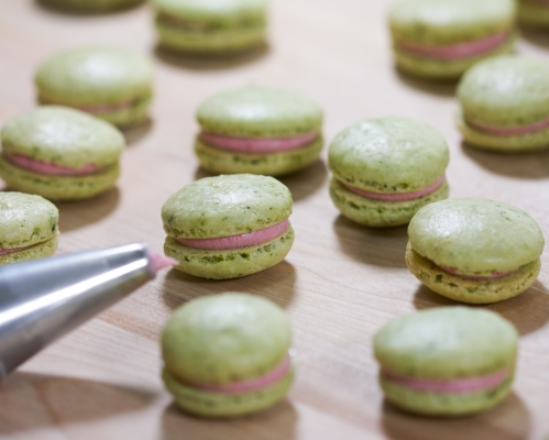 Green Tea Macarons with Raspberry Buttercream