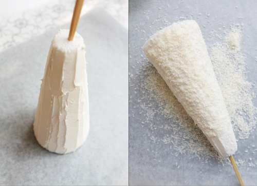 Slather the cone with an even, thick coating of white frosting, then unsweetened shredded coconut