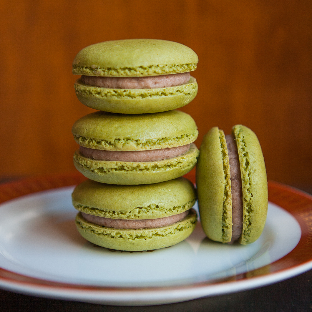 Green Tea Macarons with Red Bean Buttercream | Thirsty for Tea